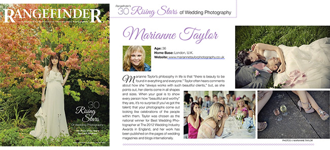 Rangefinder Magazine 30 Rising Stars of Wedding Photography 2012 Marianne Taylor