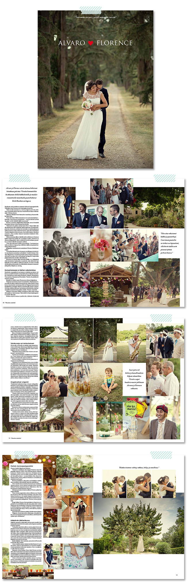 Marianne Taylor Photography wedding in Mennaan Naimisiin magazine in Finland.