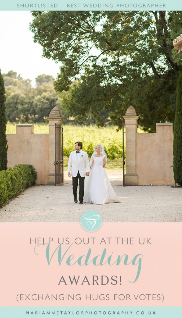 Marianne Taylor Photography is shortlisted at the UK Wedding awards. Please help us out and vote! (Exchanging hugs for votes).