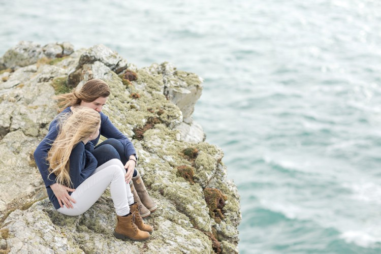 A windswept mother & daughter session by the sea