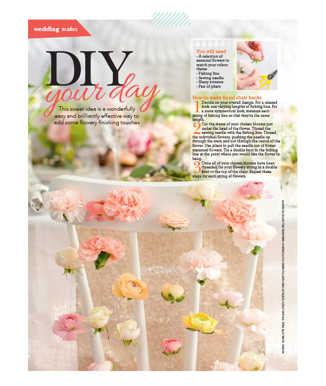 Marianne Taylor Photography & Fairynuff Flowers DIY in Wedding Flowers magazine.